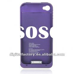 1900mAh Rechargeable External Backup Battery Case with USB Cable for iPhone 4 - Purple