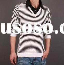2011 autumn & winter long sleeve cotton knitted t-shirt with stripe