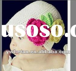 2012New Style!! White with Flower Kniting Baby Hats/Children wool Hats/Crochet Hats