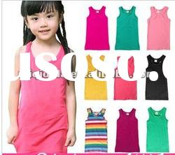 2012 Korean style cute dress baby girls sleeveless rainbow vest dress,summer children casul dress