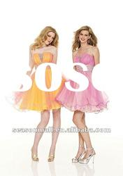 2012 New Arrival A-line Strapless Knee-length Organza Homecoming Dresses