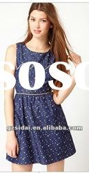 2012 UK high fashion elegant lady denim print dress, good quality with good price