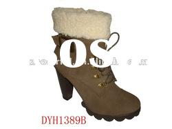 2012 fashion ladies camle high heel winter ankle boot with fur and buckle around