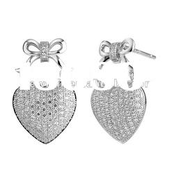 2012 heart shape newest design white round cz sterling silver earring