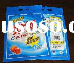 2012 hot sell plastic packaging bags with handle hole for washing powder 800g