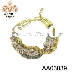 2012 latest fashion metal casting bangle and bracelet with crystal,nice jewelry