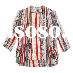 2012 latest shirt designs for women fashion stripes ladies shirt