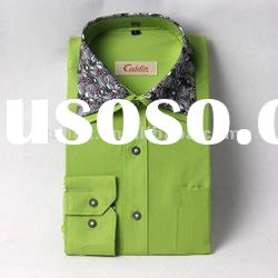 2012 new design solid color double collar fitted dress shirt men