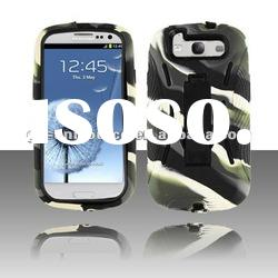 2012 new zabra PC+silicone with kickstand mobile phone case for Samsung Galaxy i9300