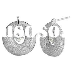 2012 round shape dangle newest design 925 sterling silver cz drop earrings