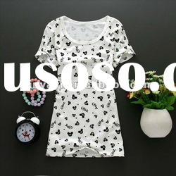 2012 summer new style cartoon printing ladies long sleeve t shirt