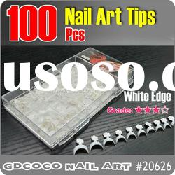 20626#100pcs Edge Nail White French tips/False Nail Tips 0-10#