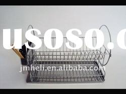 2-tier Stainless Steel Dish Rack with cuterly basket and tray
