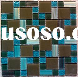 300*300mm Multicolor hand painted glass mosaic tiles JMC485 for bathroom, kitchen decoration