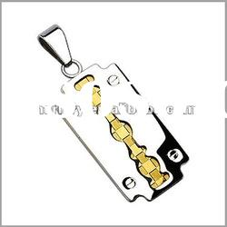 316L Stainless Steel 2 Tone Gold Centered Blade Pendant