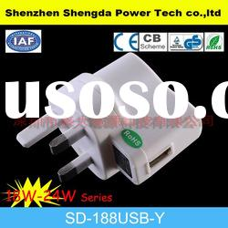 3 pin uk usb travel power adapter input ac 100~240v
