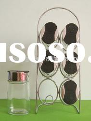 6pcs 100ml glass jar set for spice with rack