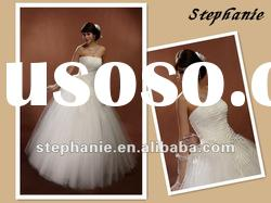 A6199 Stephanie Strapless Appliqued Crystal Tulle Skirt Bridal Wedding Gown