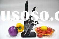 ABS TPR handle Acrylic Block Black Blade Ceramic Knife Set