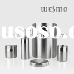 Brushed stainless steel bath accessory set