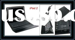 Built-in Silicone bluetooth Keyboard Faux Leather Protector Black for iPad 2
