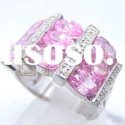 Charming pink cz quality rhodium plating wholesale fashion 925 silver ring jewelry (R5163)