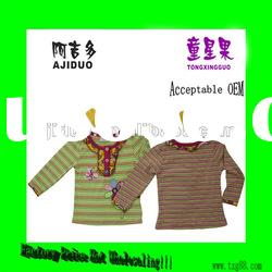 Children's Girl's Multi-Stripe Flower Embroidered Patches Long Sleeve Shirt