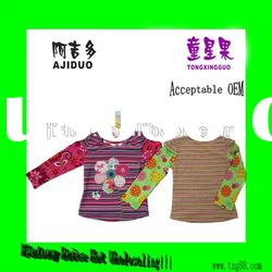 Children's Girl's Multi-Stripe Gem Flower Embroidered Patches Long Sleeve Shirt