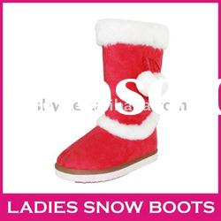 Christmas women's snow boots most popular red winter suede boots