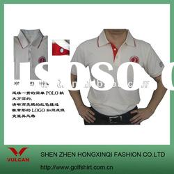 Classical beige color polo shirt for men with embroidery patch logo