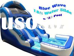 Customized inflatable Blue Wave water slide with pool for sale