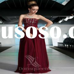 DORISQUEEN(DORIS) Wholesale Strapeless Beaded A-Line Fashion Red Wine Wedding Dresses