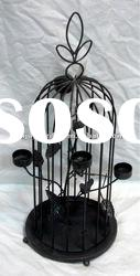 Decorative metal bird cage candle holder