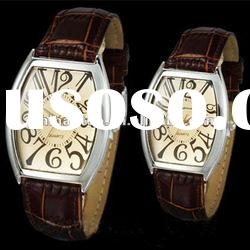 Digital numberial banded couples watch of leather strap with quartz movt