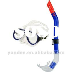 Diving swimming set mask & snorkel half dry silicone/pvc mouth piece