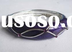 Elegant deep purple painted alloy rhinestone bangles (E2147)