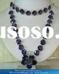 Elegant jewellery dark purple and white cubic zirconia necklace