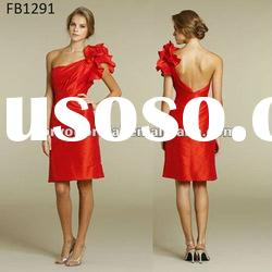 FB1291 Red Taffeta One Shoulder Short Bridesmaid Dresses