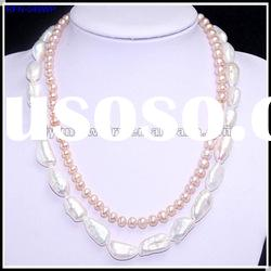 Fashion Pearl Jewelry, Freshwater Pearl Necklace, Two-Layered