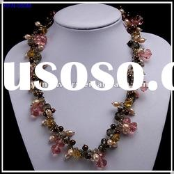 Fashion Pearl Jewelry, Freshwater Pearl Necklace with Beautiful Glass Beads