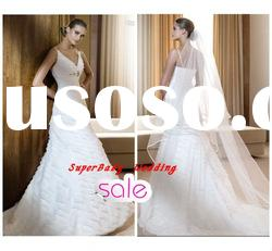 Fashion W-1220 spaghetti strap ball gown bridal wedding gown
