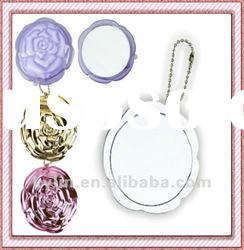 Fashion plastic pocket one side makeup mirror with key chain