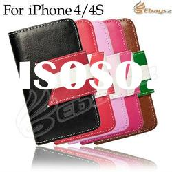 Fashionable!Wallet Type Flip PU Case Cover for iPhone 4 4S with Credit Card Slot LF-1359