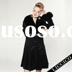 Garment wholesale women pig Suede Leather Coat with Fox Fur Collar #HD-01-1