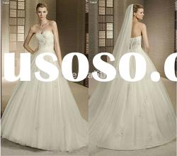 Glamorous a-line appliaue tulle beaded bodice strapless open low back beach wedding dress 2012
