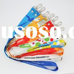 Heat transfer printed lanyard with safety break away buckle
