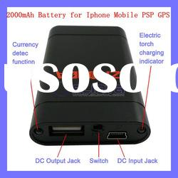 Hot product!!2000mAh Portable Rechagable Battery Charger for iPhone Mobile PSP GPS