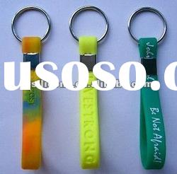Hot selling silicone key chain with metal for promotional gift