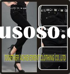 Ladies black cotton fashion blouse jeans pants