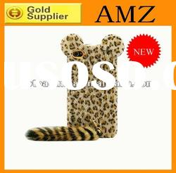Leopard case for iphone 4/4S,durable with tail design leather mobile phone case for iphone4/4S